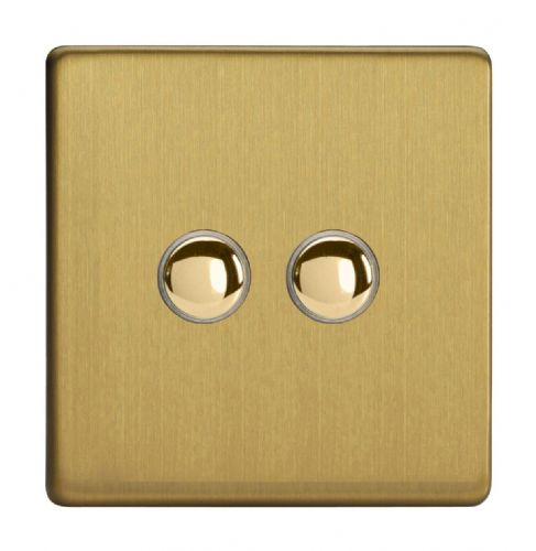 Varilight XDBM2S Screwless Brushed Brass 2 Gang 6A 1-Way Push-to-Make Momentary Switch